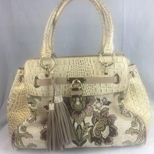Sharif Faux Croc Tapestry Leather Shoulder bag